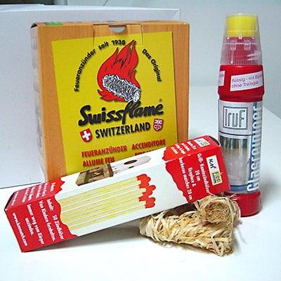Holzwolleanzünder Swissflame Ofenglasreiniger