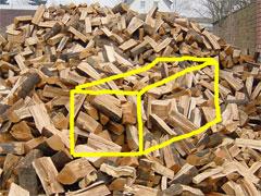ein Haufen = Schüttraummeter Brennholz
